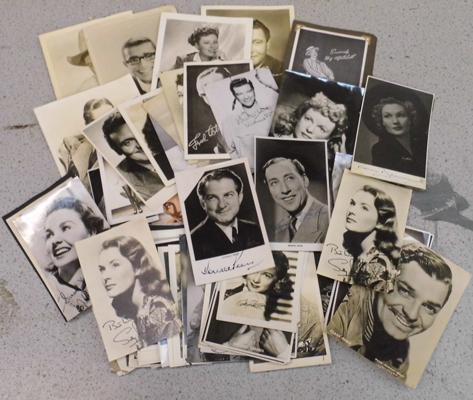 Over 60 publicity photos - Hollywood stars 1940's & 50's, many signed