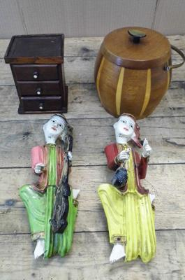 Selection of treen, American money box, biscuit barrel & two ornamental figures