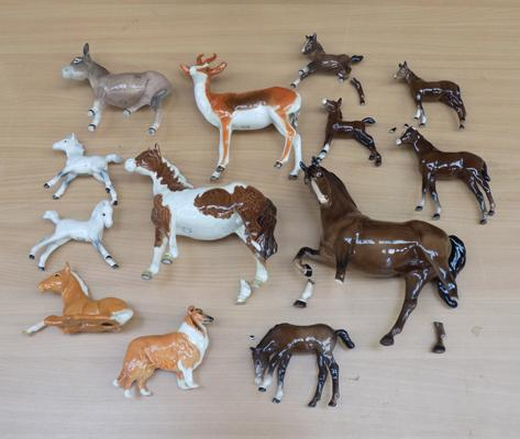 Large collection of Beswick animals (all at fault)