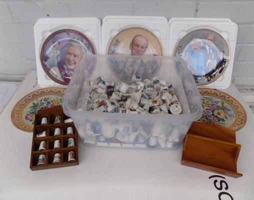 Large box of collectable thimbles, Royal plates etc...