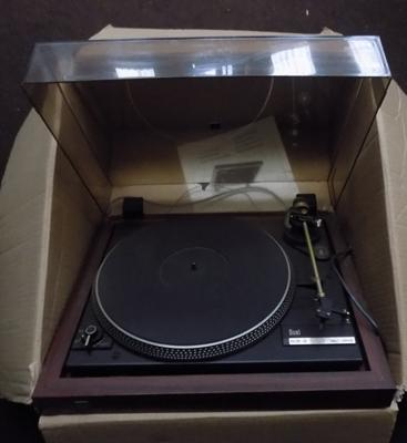 Dual record deck & box, with instructions