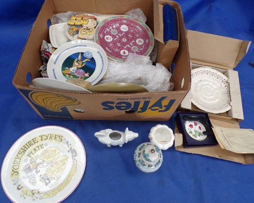 Box of pottery inc Yorkshire Tykes, Olympic, Royal Worcester etc