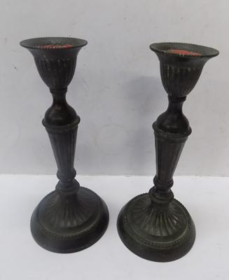 Pair of antique Victorian bronze candlesticks, approx. 9 inches