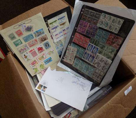 Box of stamps, loose etc