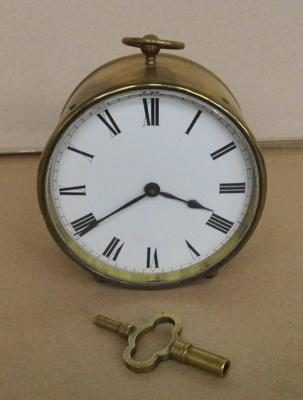 Vintage French brass clock with key