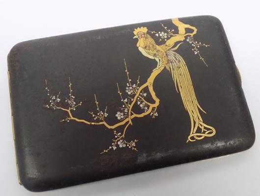 Antique Japanese signed gold and silver inlaid Rooster cigarette case
