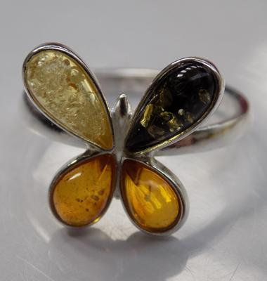925 silver and amber ring