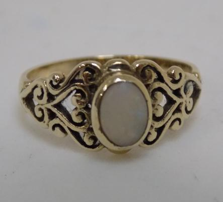 Vintage 9ct gold opal ring, size N 1/2