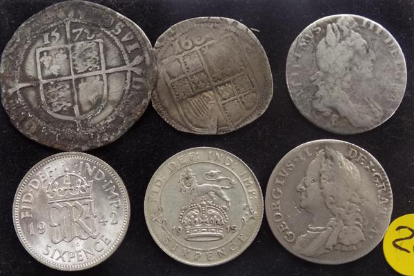 6 x silver sixpence coins 1573-1942