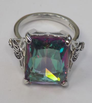 925 sterling silver rainbow topaz ring - approx. size M