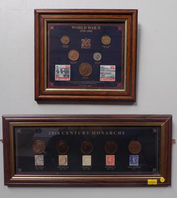 2 x framed pictures of coins + stamps