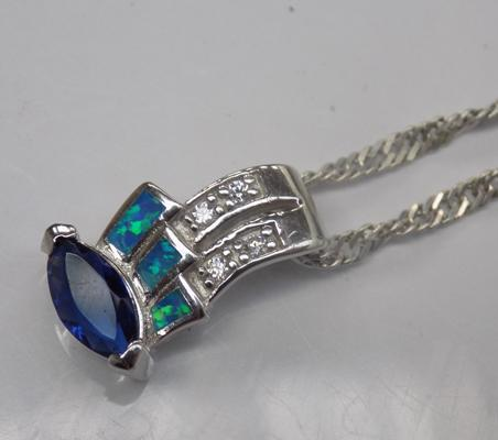 925 silver opal and blue stone pendant on silver chain