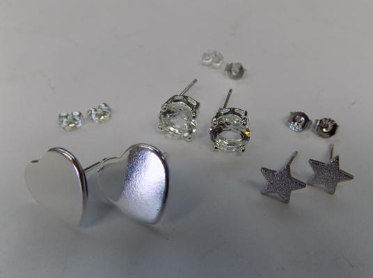 3 pairs of 925 sterling silver studs - heart shaped, star shaped, round crystal