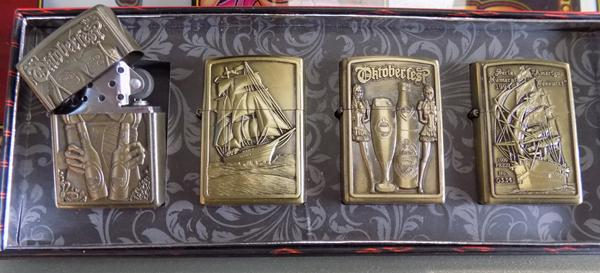 Four petrol lighters with Oktoberfest designs