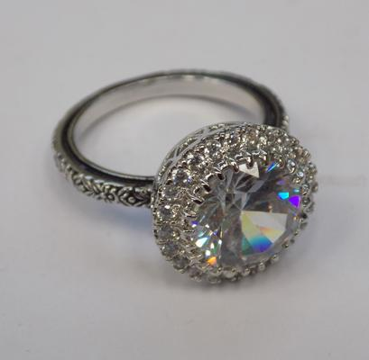 925 sterling silver white gemstone ring - approx. size M