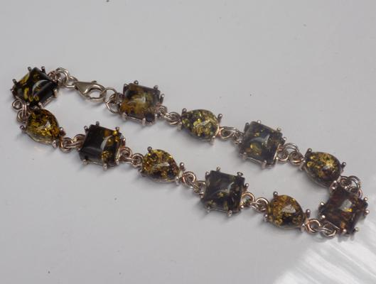 Silver and green amber bracelet