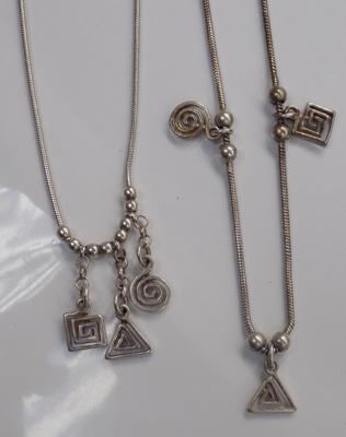Silver charm style matching necklace & bracelet