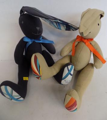 2x Paul Smith large blue and beige hares (soft toy)