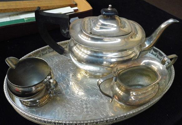 Gallery tray - coffee pot, sugar pot and creamer