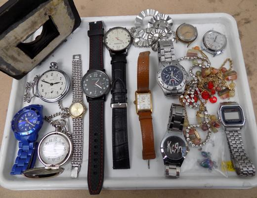 Tray of watches and costume jewellery