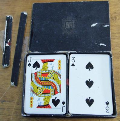 Playing cards in leather case with Swastika