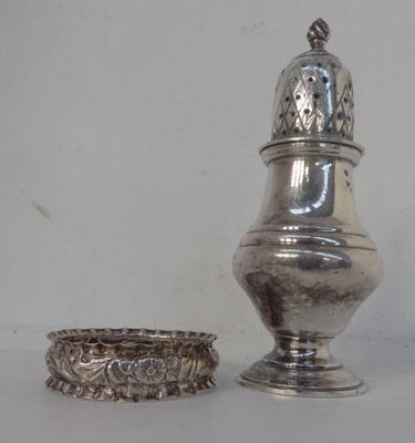 Solid silver sugar sifter and napkin ring