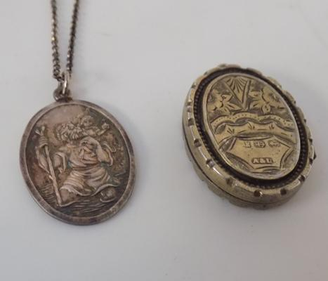 Silver St Christopher on chain and locket