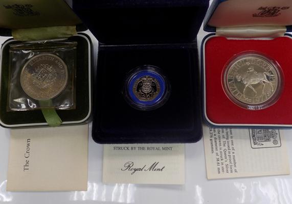 3 x Royal Mint silver proof coins, 2 x crowns 1972-77 + 1982 twenty pence piece
