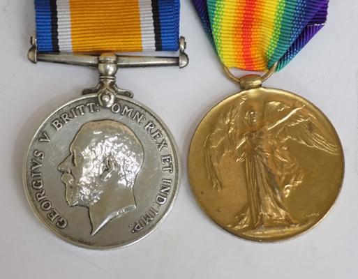 Pair of WWI medals presented to Pte G. W. Stevenson