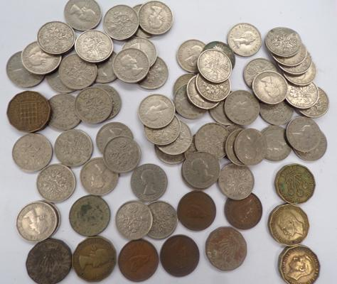 Selection of sixpences, farthings etc.