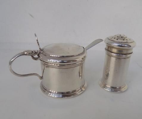 Solid silver sifter and condiment pot