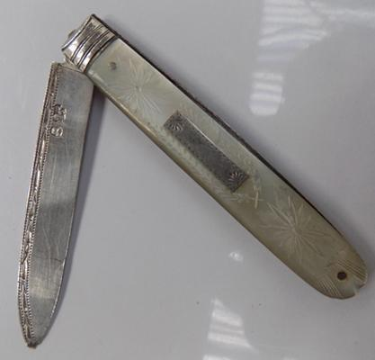 Georgian silver mother of pearl fruit knife