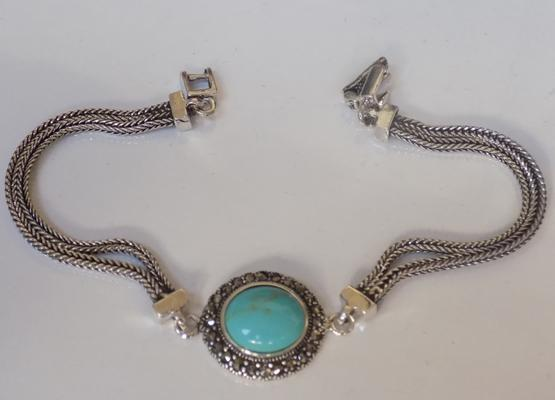 Silver turquoise & marcasite bracelet