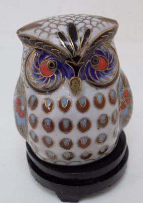 Cloisonne owl with wooden stand
