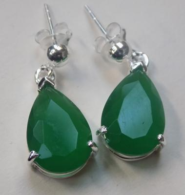 Pair of silver & green stone earrings