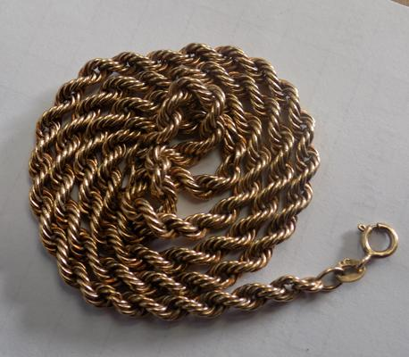 9ct double rope twist necklace, 5.9 grams