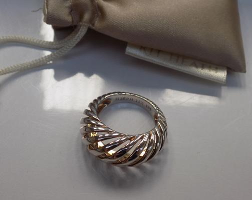 Kit Heath modernist silver ring with pouch, cost £50 (John Lewis)