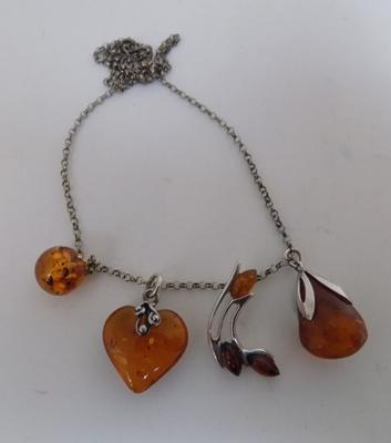 925 silver chain with 4 different amber & silver pendants