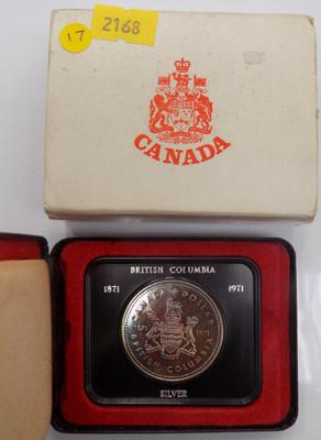 Canadian silver dollar, 1971, in case