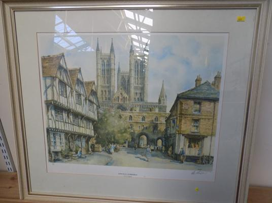 Limited edition 550/850 signed 'Lincoln cathedral' print by E.R.Strurgen