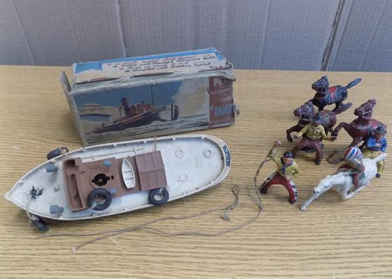 1930's penguin toys, steam boat, clockwork with key + four rare 1930's Timpo cowboys & Indians on horses
