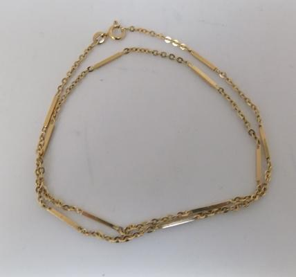 Vintage 9ct gold bar & chain necklace