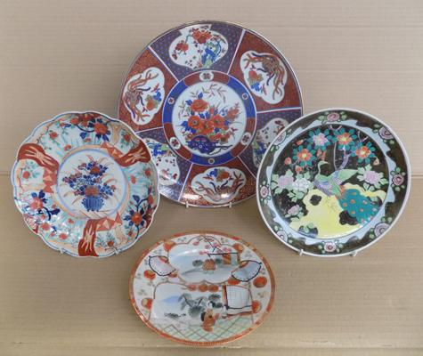 Selection of plates incl. Japanese Charger decorated and accented in gold design and Japanese plate hand decorated with peacock and flowers, Imari plate flower pattern and T.plate decorated shells han