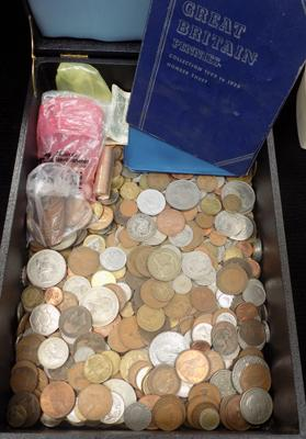 Large very heavy coin collection in wooden box