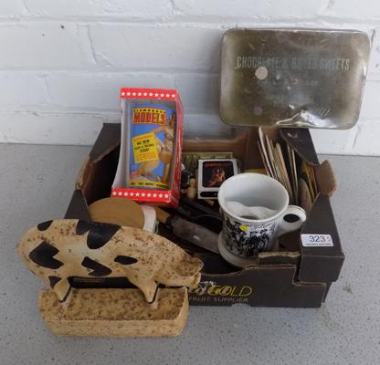 Selection of good quality collectables inc brass, hallmarked silver, bar mats etc