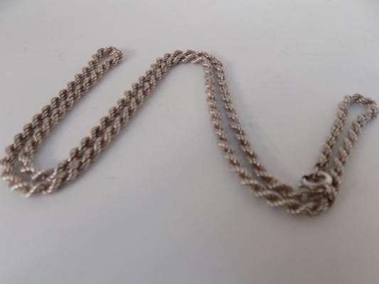 Fully hallmarked silver twist rope chain 24""