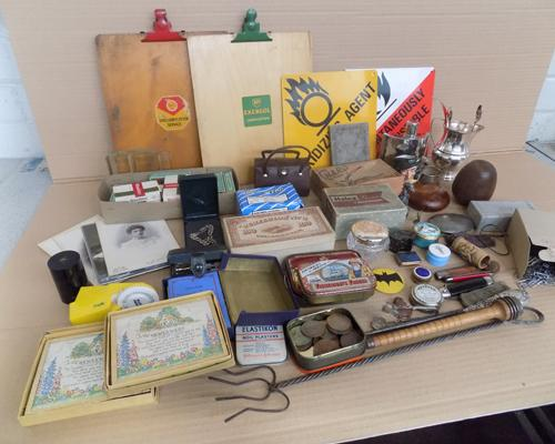 Box of collectables, incl. sugar tongs & hip flask