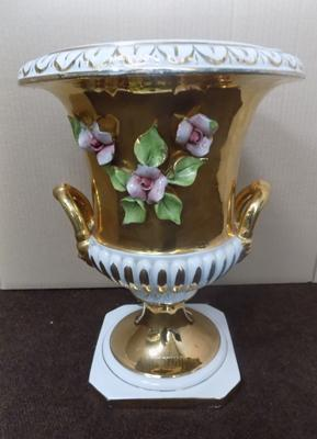 "Italian Majolica style porcelain two handled urn - 22ct gold guilded 14 1/2"" in height"