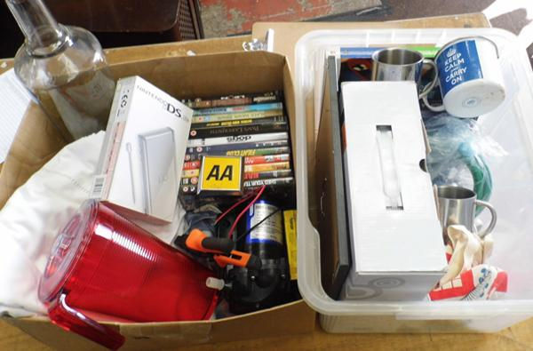 Two boxes of miscellaneous items, incl. Nintendo DS etc...