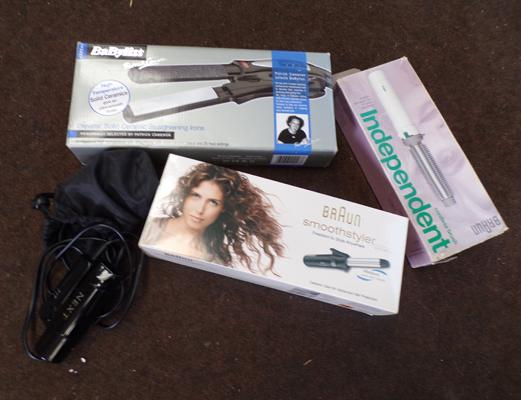 Selection of hair styling tools, incl. Babyliss ceramic straighteners, 2 x Braun cordless hot brushes + Next Travel hairdryer